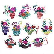 <em>Chinese</em> Assorted Handmade Paper Cut of Flower Basket