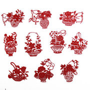 Chinese Handmade <em>Paper</em> Cut of Flower Bastet Red