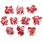 Chinese Red  handmade <em>paper</em> cut of folk baby