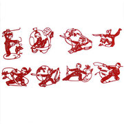 <em>Chinese</em> Red handmade Paper Cut: Martial Art