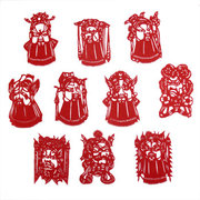red handmade paper-cut of facial makeups of Peking Opera