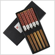 5 pairs of Tablewares of Bamboo chopsticks decorated with red flowers