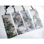BM003  PVC anti-water bookmark of Chinese paintings of mountains and rivers